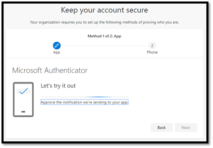 Test your account with the authenticator app