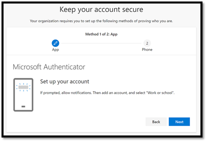 Keep your account secure wizard, showing the authenticator Set up your account page